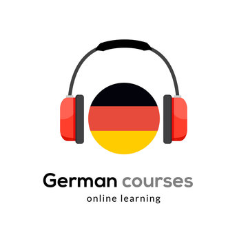 German language learning logo icon with headphones. Creative german class fluent concept speak test and grammar