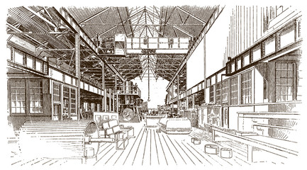 Interior view of a historic machine shop or factory building (after an engraving or etching from the 19th century)