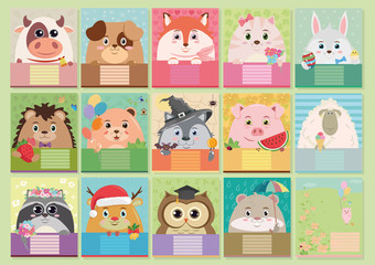 Set of colorful children's covers for notebooks with animals