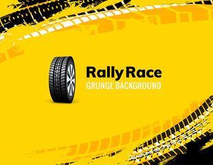 Rally race grunge tire dirt car background. Offroad wheel truck vehicle vector illustration