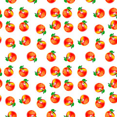 Pattern with apples. The apples are red with yellow spot