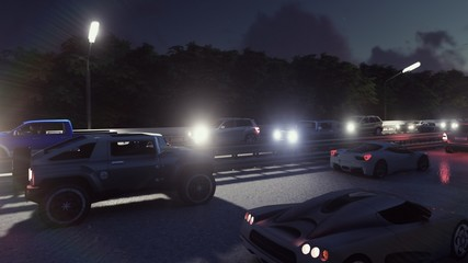 Cars with lights on go through the city at night. Night cars lights and heavy traffic. 3D Rendering