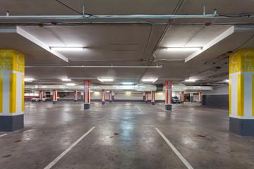 Parking garage interior, industrial building,Empty underground
