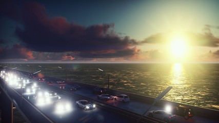 The camera flies over the bridge with heavy traffic. Cars with lights on go on the bridge at sunrise. 3D Rendering
