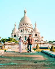 Sacre Coeur Cathedral in Montmartre, Paris, France, hill of Montmartre Paris with church