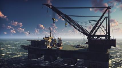 Oil platform, offshore platform, or offshore drilling rig in sea at sunrise. 3D Rendering