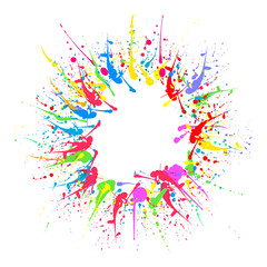 Colorful splashes of paint in the shape of a circle. Vector illustration.