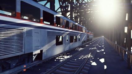 High speed train, the train passes on the railway bridge at sunrise. Public transport railway passenger train.3D Rendering