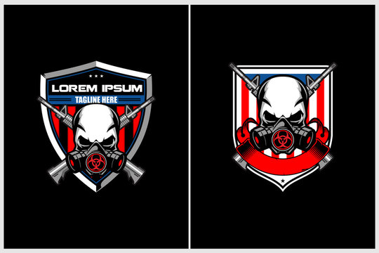 skull gas mask with cross rifle and american flag vector badge crest logo template