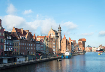 City view of Gdansk with the characteristic, famous Crane, Poland.