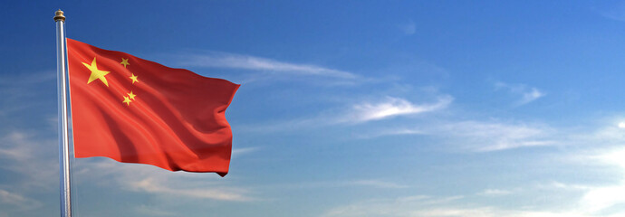 Flag of China rise waving to the wind with sky in the background Wall mural
