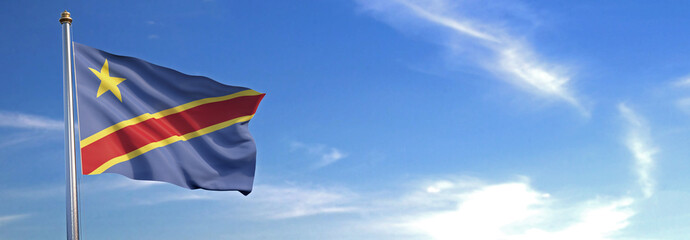 Flag of Democratic Republic of Congo rise waving to the wind with sky in the background