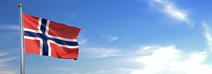 Flag of Norway rise waving to the wind with sky in the background