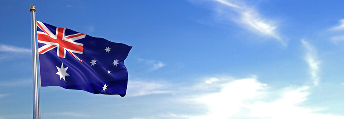 Flag of Australia rise waving to the wind with sky in the background