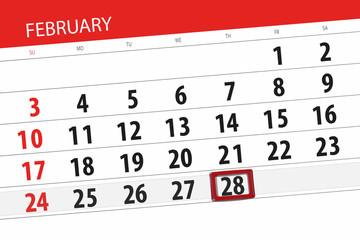 Calendar planner for the month february 2019, deadline day, 28, thursday