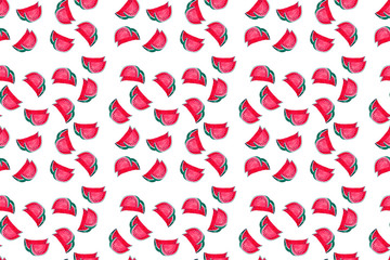 Pattern withslices of watermelon on white background