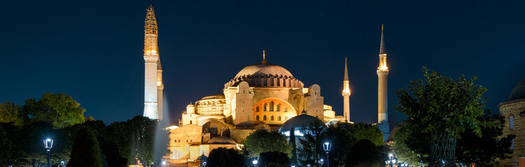 Panoramic view of the Hagia Sophia at night, Istanbul, Turkey