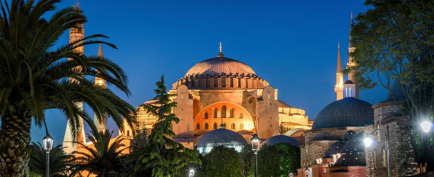 Scenic panorama of the Hagia Sophia at night, Istanbul, Turkey