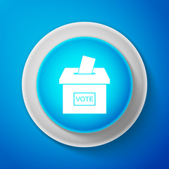 Vote box or ballot box with envelope icon isolated on blue background. Circle blue button. Vector illustration
