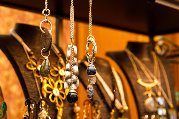 Handmade jewelry made of silver and steel, with stones and natural materials. Great gift