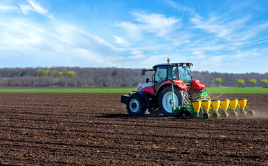 Fototapete - Agricultural machinery, sowing.