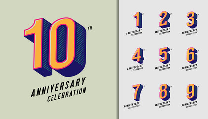 Set of anniversary logotype. Modern anniversary celebration icons. Design for company profile, booklet, leaflet, magazine, brochure, invitation or greeting card.