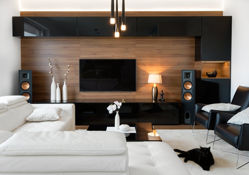 Modern living room with stereo speakers