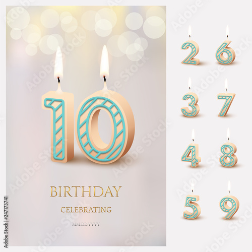 Burning Number 10 Birthday Candles With Celebration Text On Light Blurred Background And