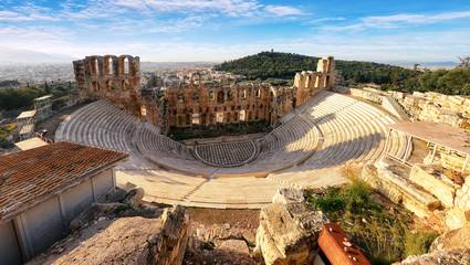 Ancient theater in summer day in Acropolis Greece, Athnes
