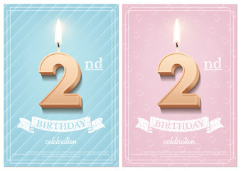 Fototapeta Burning number 2 birthday candle with vintage ribbon and birthday celebration text on textured blue and pink backgrounds in postcard format. Vector vertical second birthday invitation templates. obraz