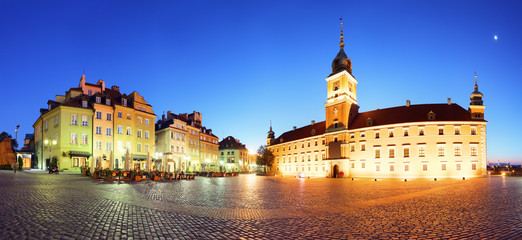 Warsaw city at night, panorama, Poland