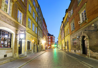 Warsaw street in city center at night, near market square and old town