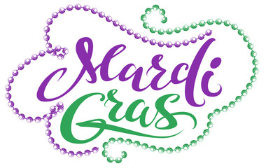 Mardi Gras handwriting text for greeting card festival fat tuesday