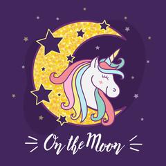 Cute unicorn cartoon character illustration design.