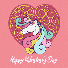 Cute unicorn cartoon character illustration design. Happy Valentines day vector illustration