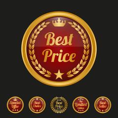 Best price label on black background.