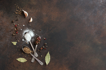 Wall Murals Spices Food cooking background with spices and sea salt