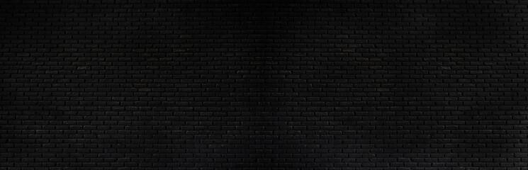 panorama  black brick wall texture, brick surface background. Vintage floor wallpaper.