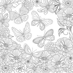 flying butterflies in blossom garden for your coloring page