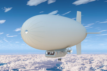 Airship or dirigible balloon in the blue sky above the clouds. 3D rendering