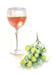 Watercolor Glass of Wine and Grapes