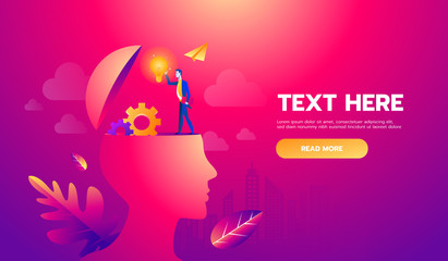Businessman on head with brain idea. Vector illustration Eps10 file. Text and Texture in separate layers and copy space.