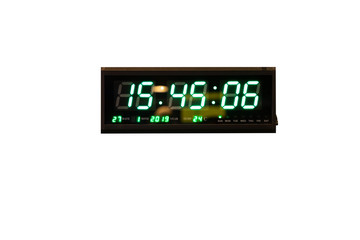 digital clock isolate on white background. Green LED light clock wall with thermometer.