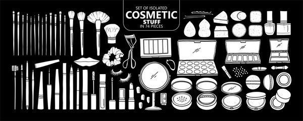 Set of isolated white silhouette cosmetic stuff in 74 pieces.
