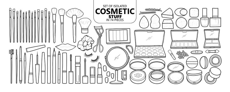 Set of isolated cosmetic stuff in 74 pieces.