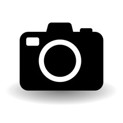 Black and white camera icon, flat photo camera vector isolated with vector shadow. Modern simple snapshot photography sign. Photo internet concept. Trendy symbol for website design, web button, mobile