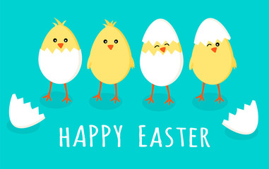 Easter greeting card with four cute little yellow chicks in cracked eggs and egg shell with sign text happy easter, vector graphic illustration. Easter themed, cartoon flat illustration isolated on
