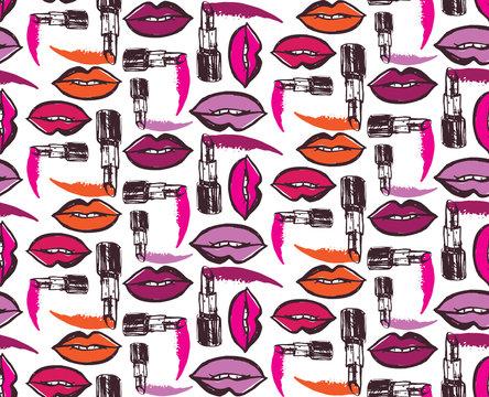 Hand drawn doodle lipstick kiss pattern background