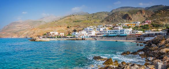 Wall Mural - Scenic village of Hora Skafion and the mediterranean sea  in Crete, Greece