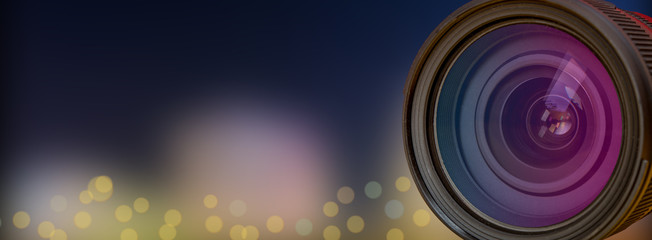 Professional Camera Lens with blur background effect